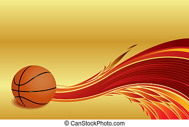 Basketball ball with flames at a golden background
