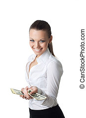 young sexy business woman offer dollars
