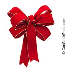 Red Velvet Bow isolated on white - Red Velvet Bow isolated...