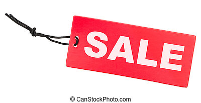 Sale Tag - Red Sale Tag Isolated on White Background