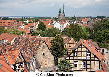 Cityscape of medieval city Quedlinburg - Cityscape of...