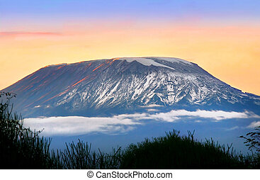 Sunrise on mount Kilimanjaro Kenya Amboseli national park