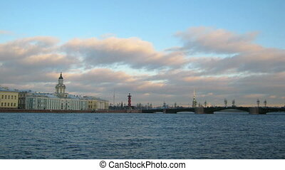 panorama of Neva river in the historical center of...