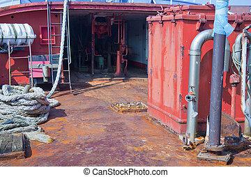 pokład, stary, żelazo, statek