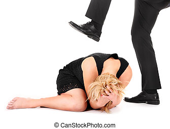 Treading on employee - A picture of a male leg treading on a...