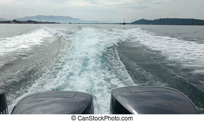Speedboat wake of - Speedbot wake of Andaman sea