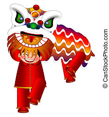 Chinese Lion Dance by Chinese Boys Illustration - Chinese...