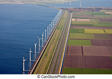 Aerial view at windfarm in the sea, the Netherlands