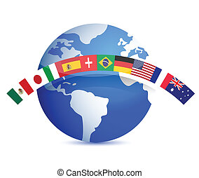 globe with flags illustration design on white
