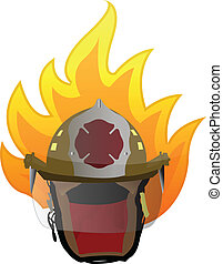 firefighter helmet on fire
