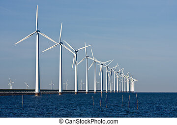 Long row of windturbines in the Netherlands