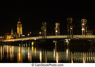 Dutch cityscape at night - Cityscape at night of Kampen the...