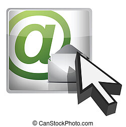 mail button and cursor illustration design on white