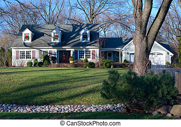 Suburban Home in Burr Ridge Illinois from Curb - Private...