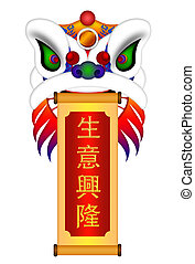 Chinese Lion Dance Colorful Ornate Head and Scroll with Text...