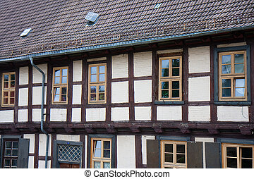Facade of old historic town Quedlinburg, Germany - Facade of...
