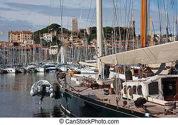 luxury yachts in harbor of cannes, france