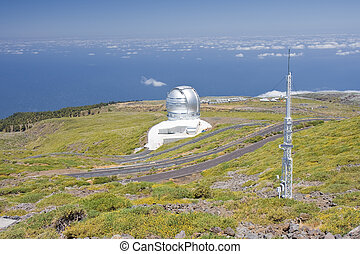 Telescopes above the clouds at the highest peak of La Palma, Canary Islands