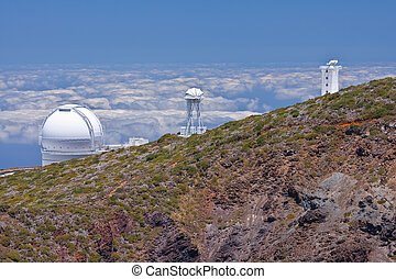 Big telescopes above the clouds at the highest peak of La Palma