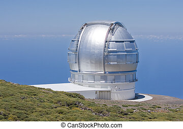 Telescope at highest peak of La Palma, Spain