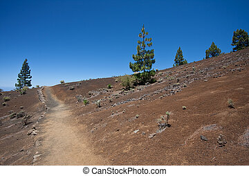 Hiking trail through desolate volcanic landscape, Canary...