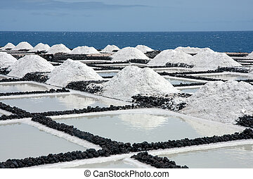 Salt extraction at La Palma, Canary Islands