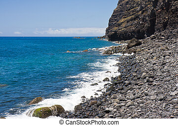 Beach with pebbles at La Palma, Spain