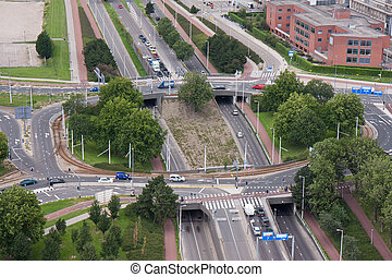 Aerial view of a rotary intersection in Rotterdam, the Netherlands