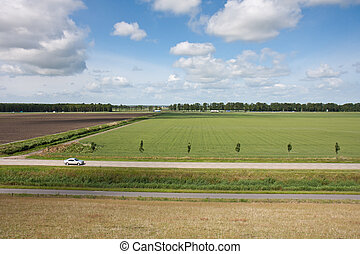 Aerial view of rural landscape in the Netherlands