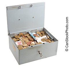 Money chest of steel isolated on white