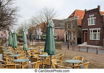 Empty terrace in an old traditional Dutch village