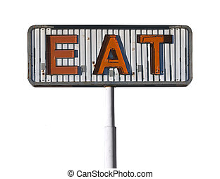 Vintage Eat Sign Isolated