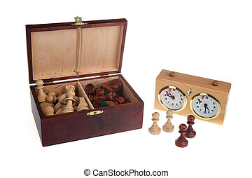 Chess pieces and a chess clock