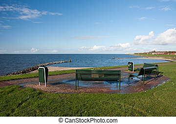 Picnic area along the Dutch coast - Picnic area with benches...