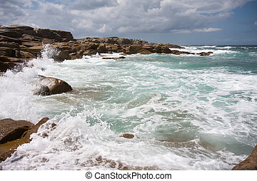 Wild water at coast of Brittany, France