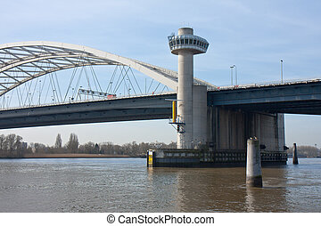 Bridge over river Lek in the Netherlands - Big bridge over...