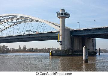 Bridge over river Lek in the Netherlands - Big bridge over...