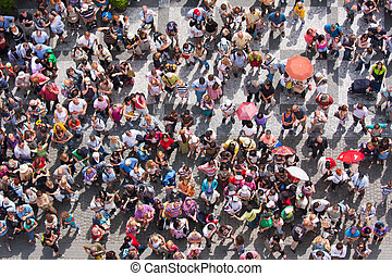 Top view at a plaza with waiting people - Top view at a...