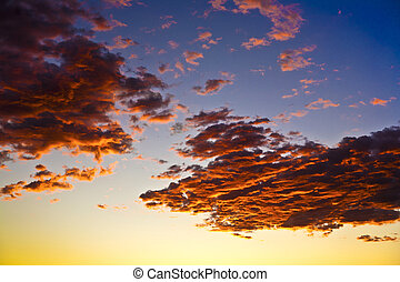impressive sunset in the desert in Arizona with golden...