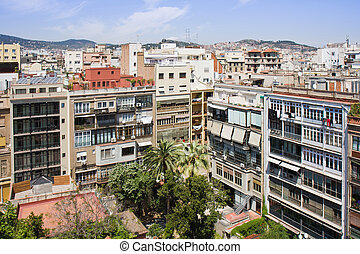Cityscape of Barcelona from roof of the Casa Mila