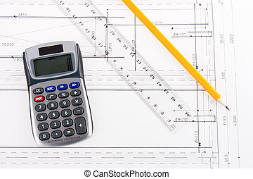 Building plan with calculator, ruler and pencil