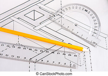 Building plan of wooden beams in a house