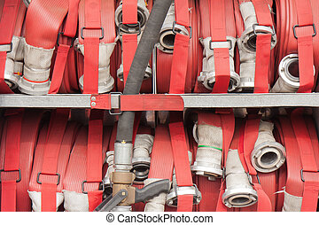 Lapped fire hoses on a fire truck