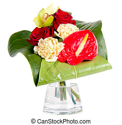 Beautiful bouquet in a vase, isolated on white