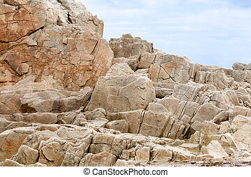 Coast with famous pink granite rocks in Brittany, France
