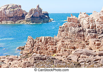 Famous pink granite rocks in Brittany, France