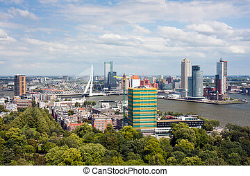 Aerial view at the harbor of Rotterdam, the Netherlands