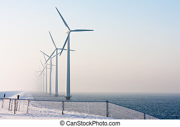 Dutch offshore wind turbines in winter time - Offshore wind...