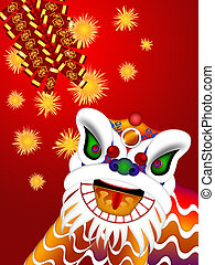 Chinese Lion Dance Head with Firecrackers Illustration -...