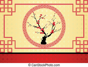 Chinese New Year greeting card - Oriental style painting,...